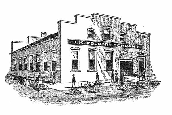 Drawing of OK Foundry in 1912 from historic letterhead artwork.